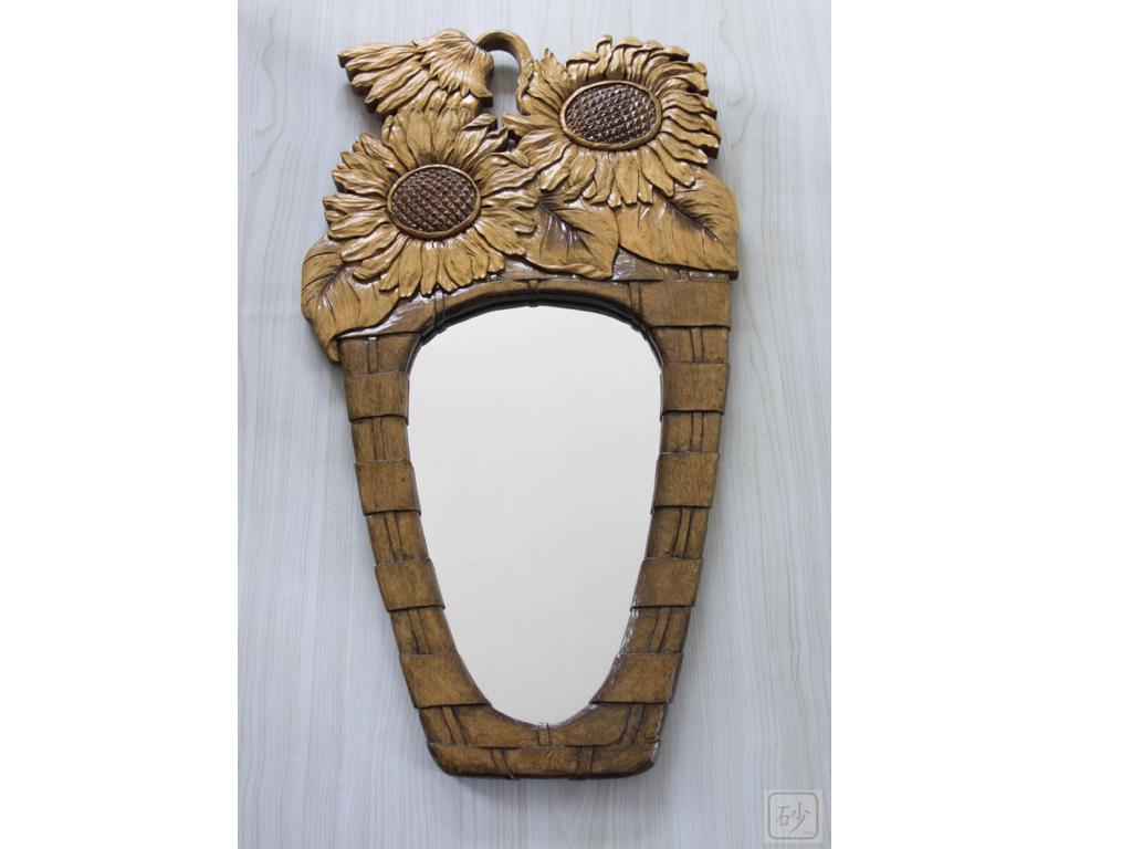 木彫りの鏡 ひまわり