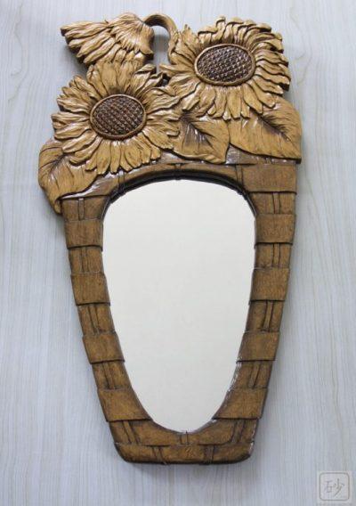 木彫りひまわりの鏡