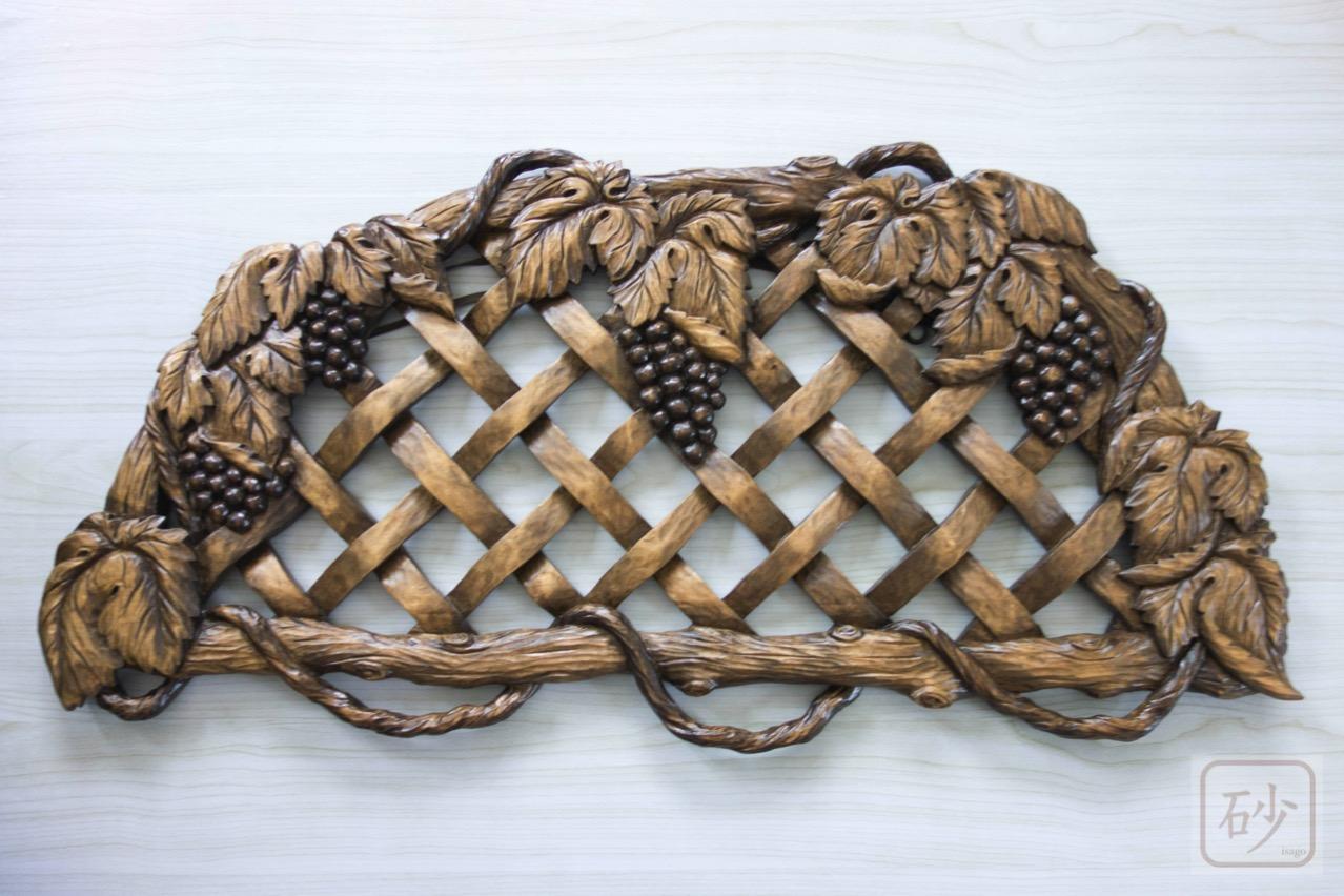 木彫り ブドウの帽子掛け