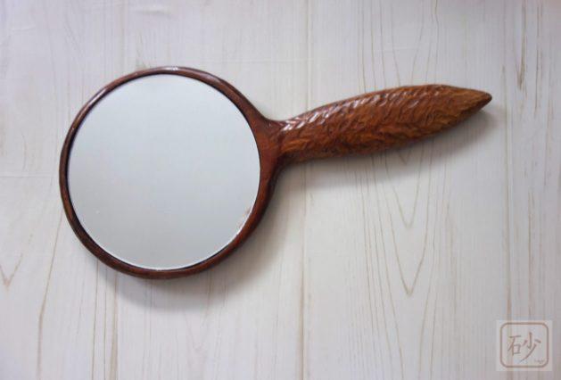 木彫り手鏡