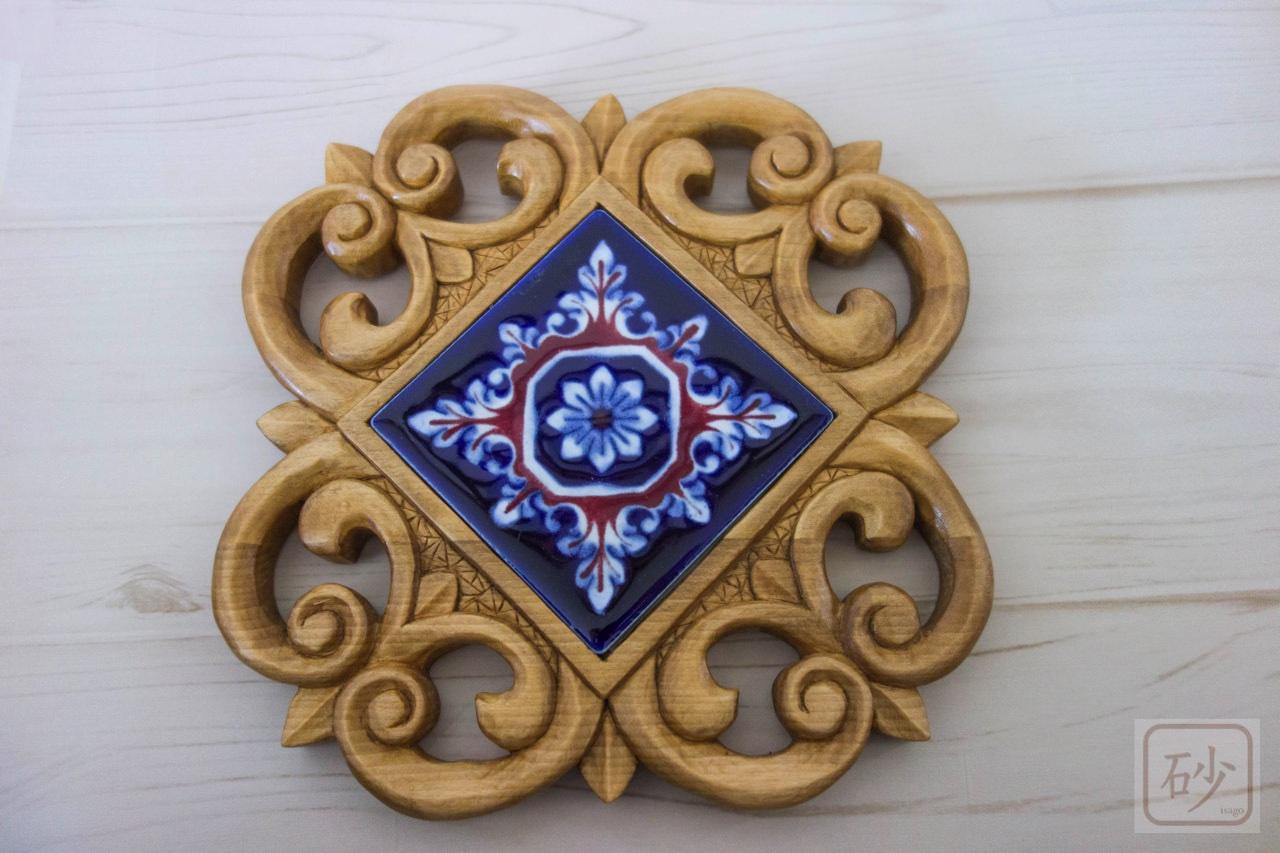 木彫りの小さいタイルトレー