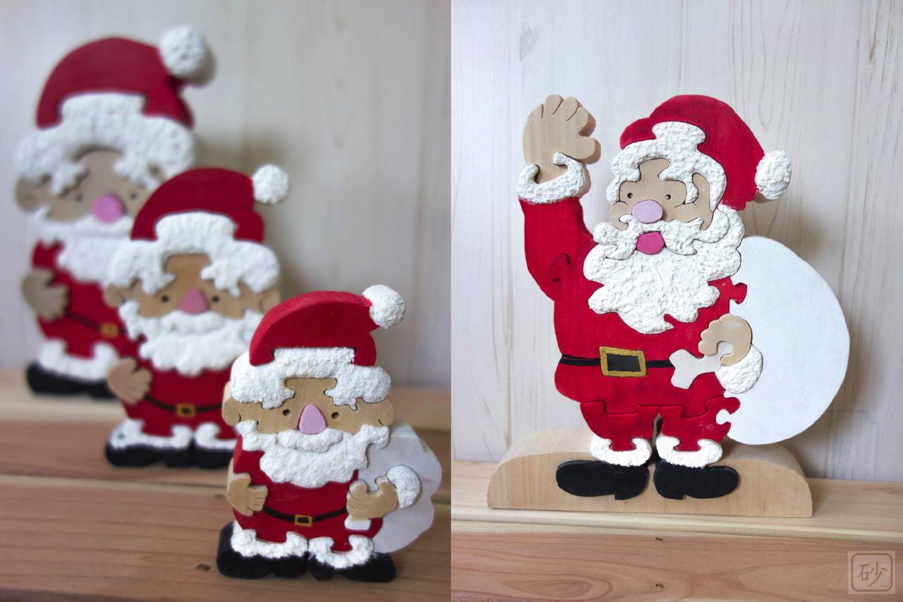 木彫りのサンタクロース 組み木6種類