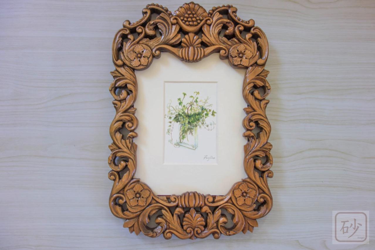 木彫りの額縁 アカンサス 花のポストカード