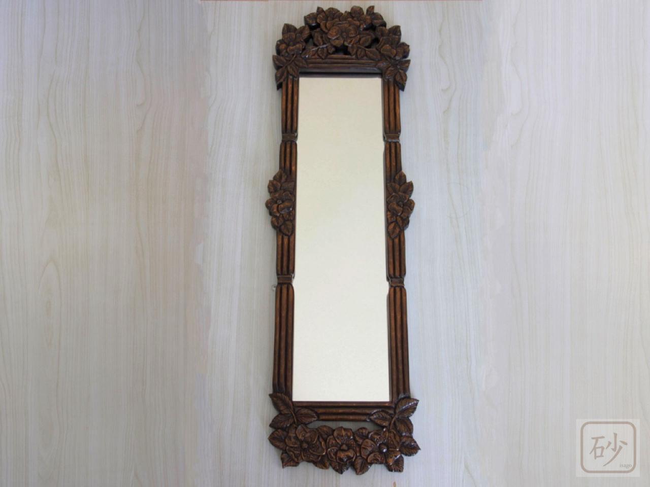 木彫りの長鏡 野バラ
