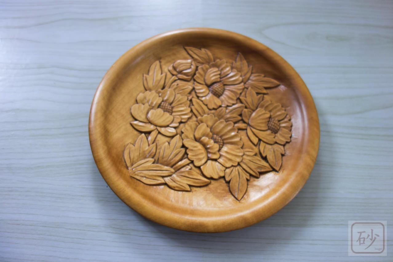 木彫り菓子器