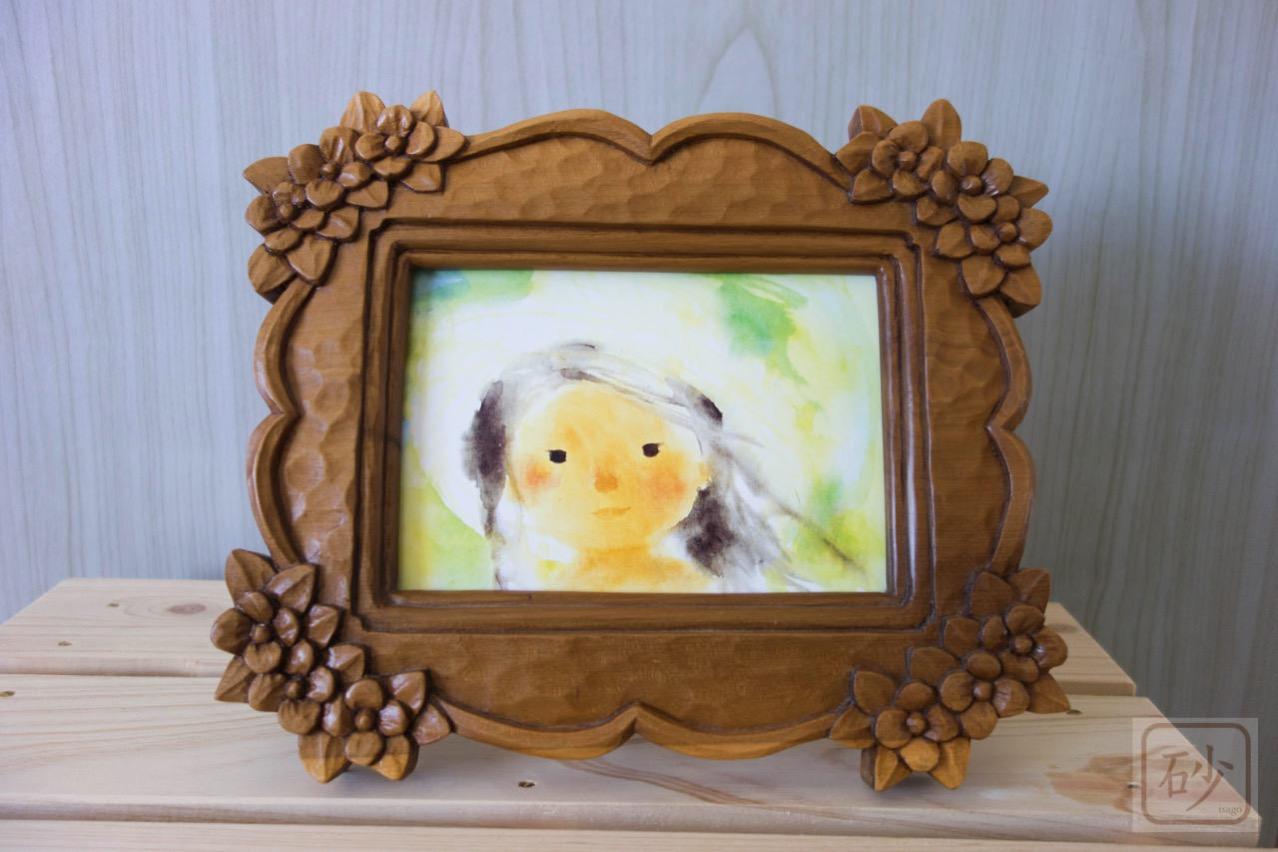 木彫りの写真立て 小花