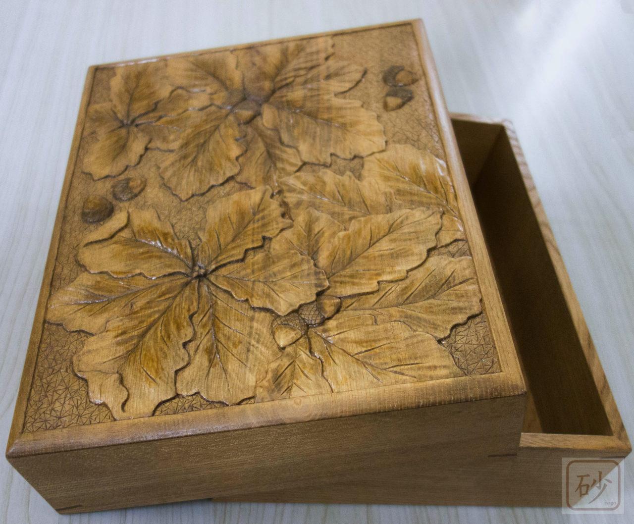 木彫りの文箱