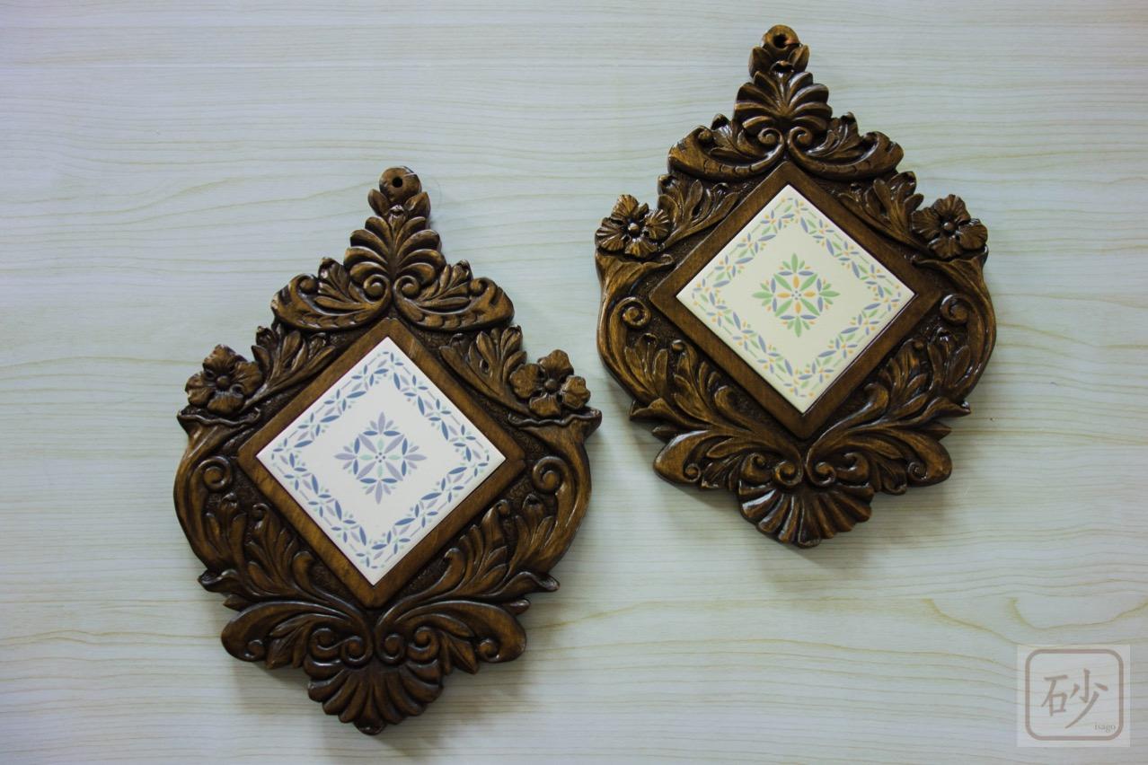 木彫りのタイルトレー 壁掛け 2種