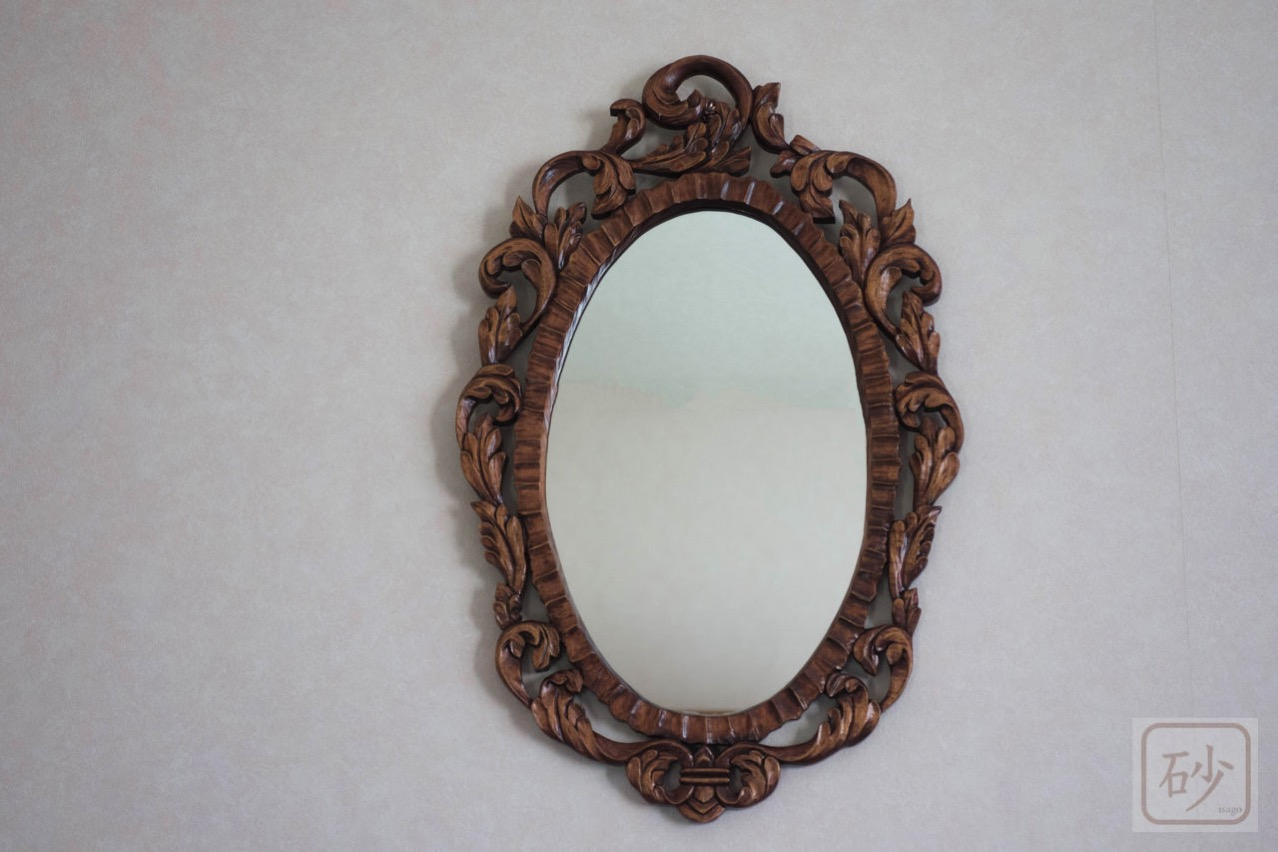 木彫りの鏡 アカンサス 楕円