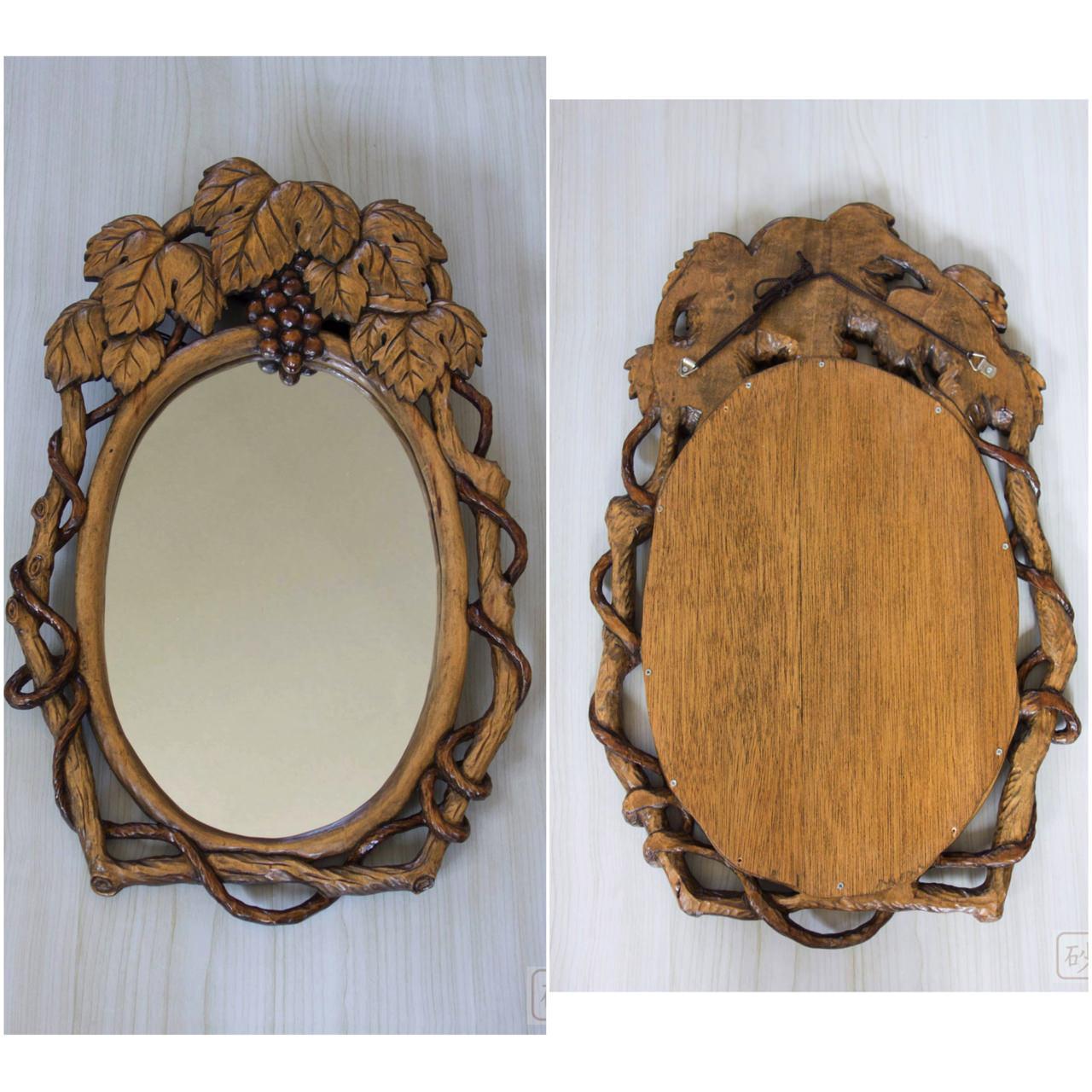 木彫りの鏡 ブドウ