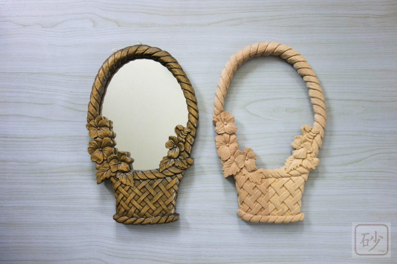 木彫りの鏡 スミレの花かご