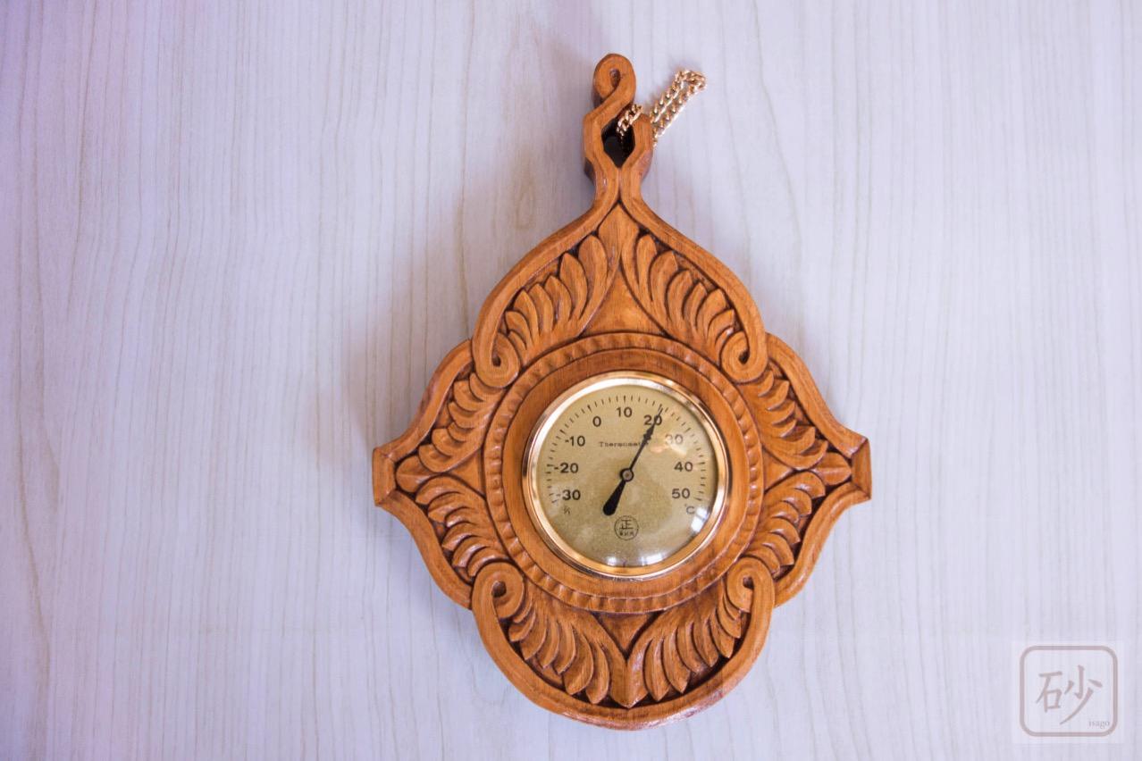 木彫りの温度計 アカンサス