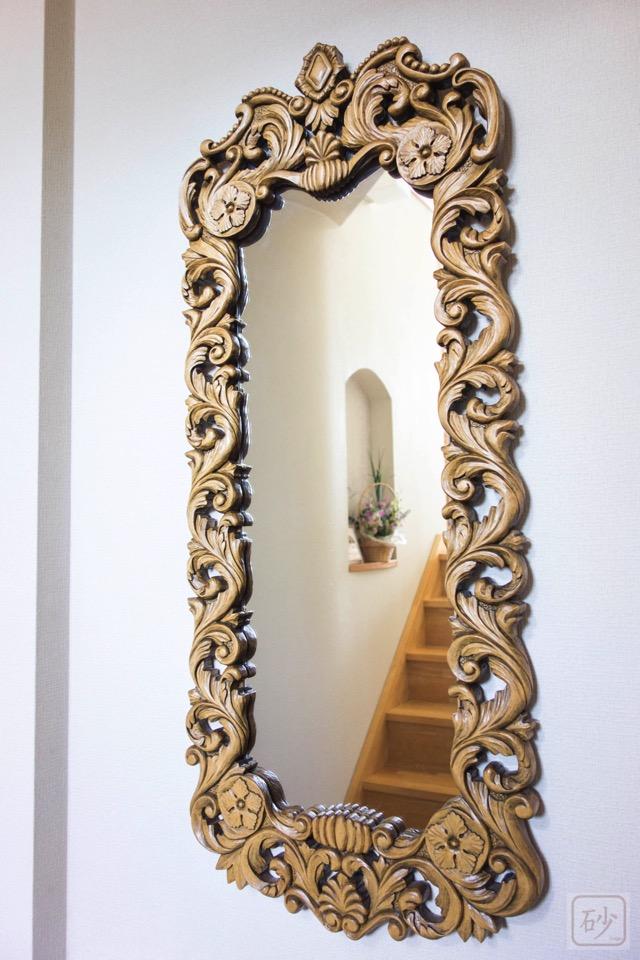 木彫りアカンサス鏡