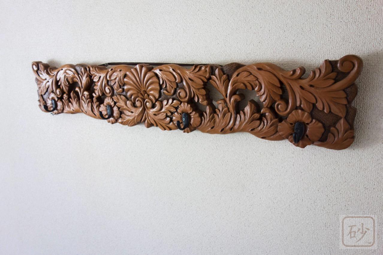 木彫りのコートハンガー アカンサス