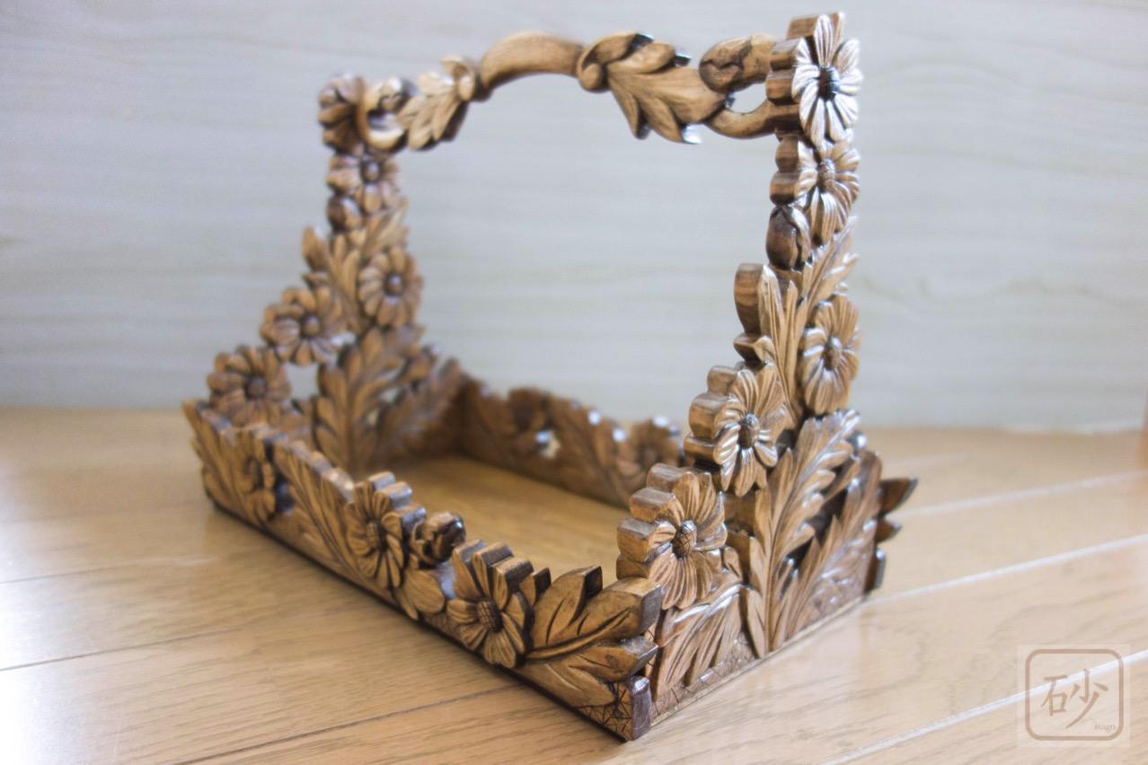 木彫りのおかもち マーガレット