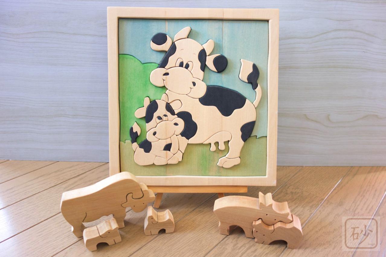 組み木の牛 3種類