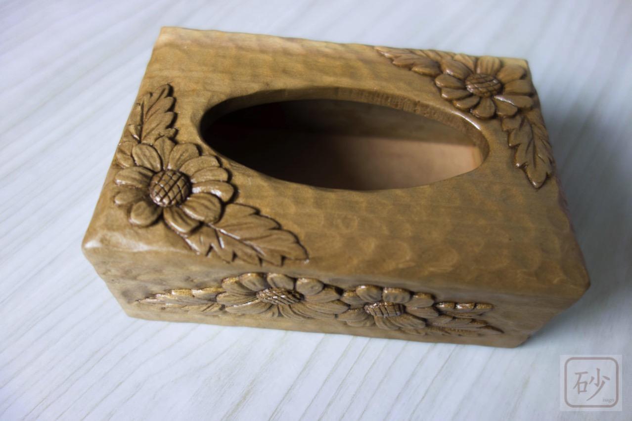 木彫りのポケットティッシュケース クリサンセマム