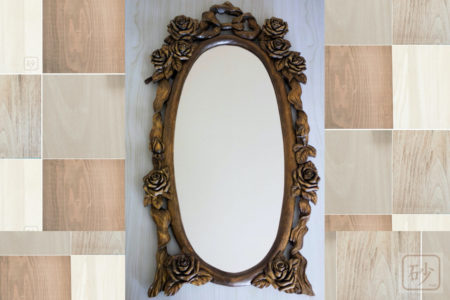 木彫りの壁掛け鏡 バラ
