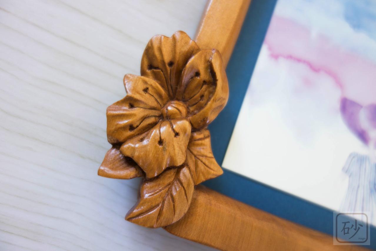 木彫りのミニ額 野バラ