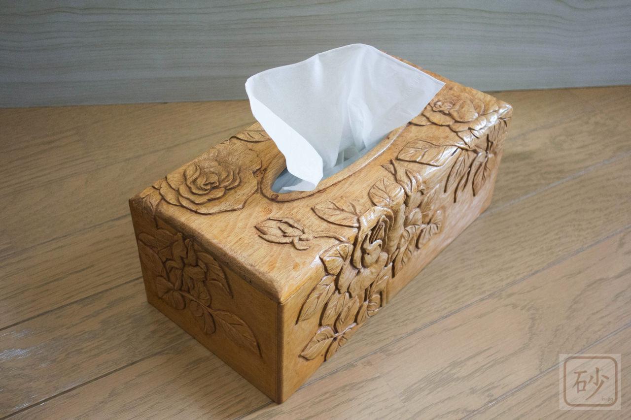 木彫りのティッシュケースカバー バラ