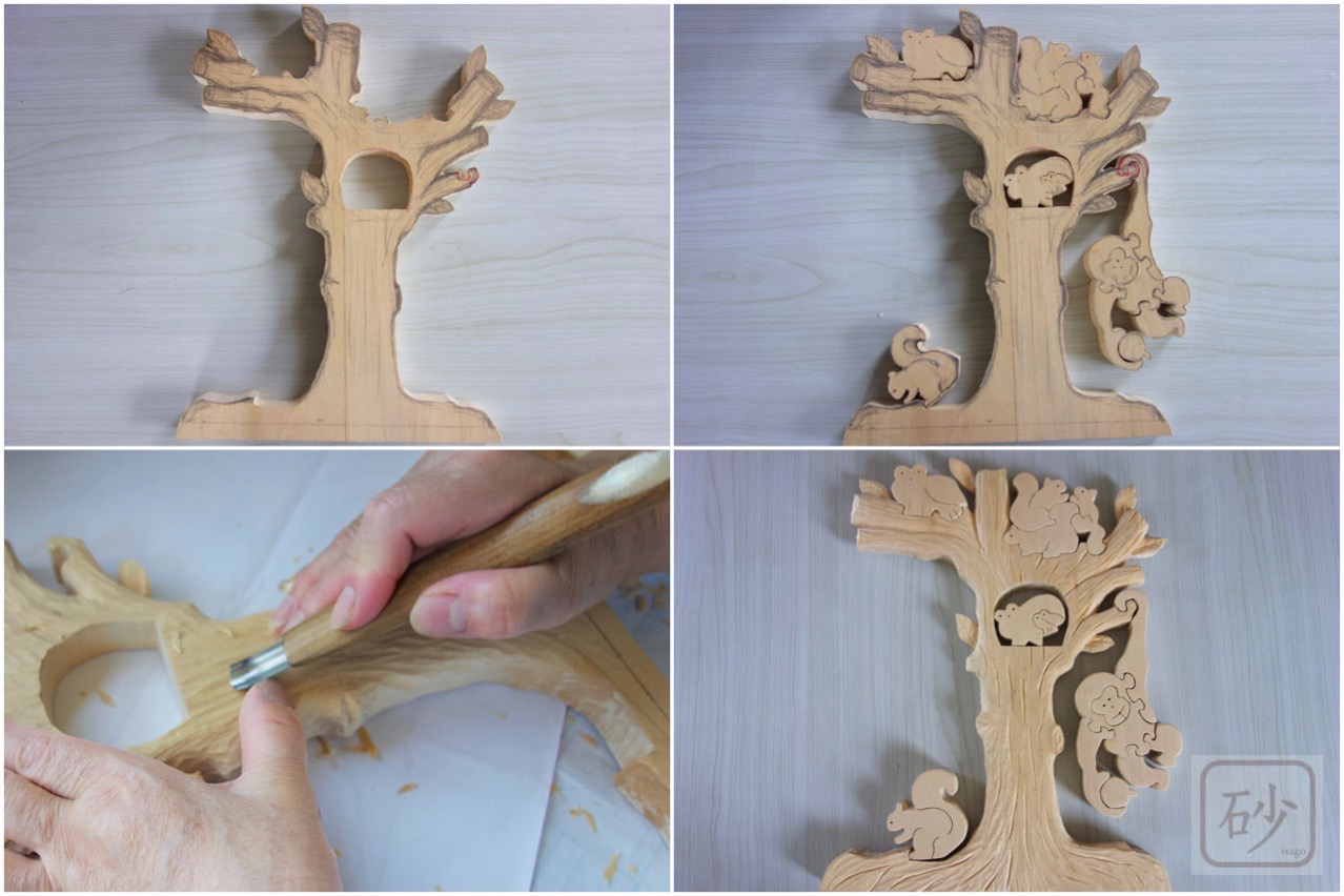 木彫り制作中