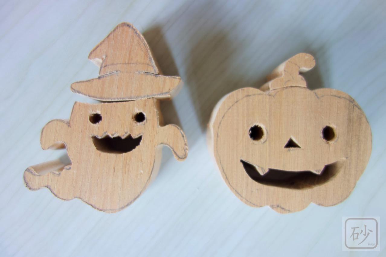 木彫りの卓上オブジェ ハロウィン