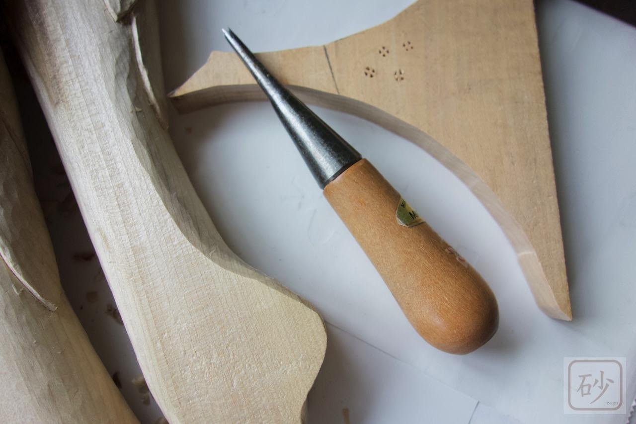 木彫りの道具 梨地刀