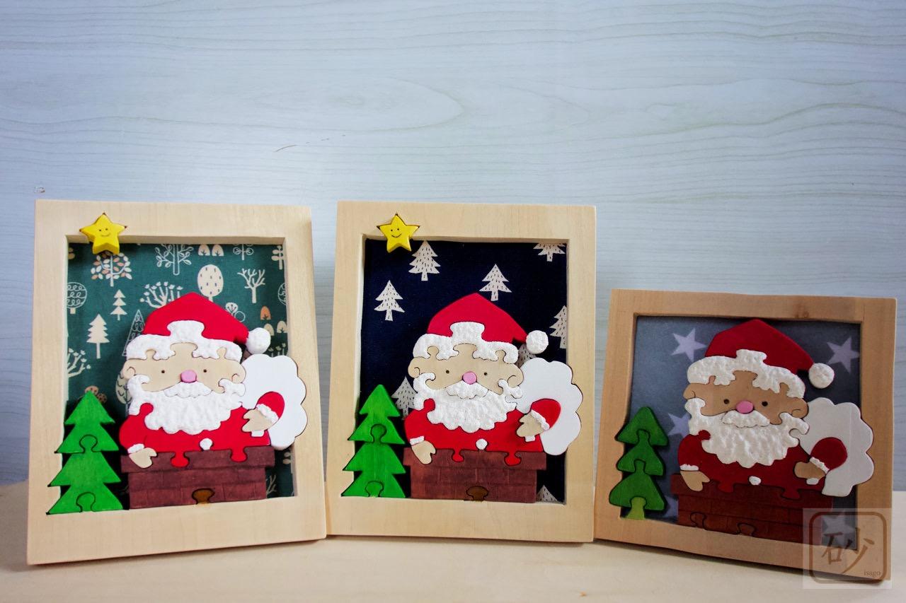 木彫りのサンタクロースと木製クリスマスツリー改良型