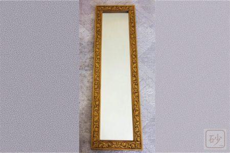 木彫りの長鏡 アカンサス葉の連続模様