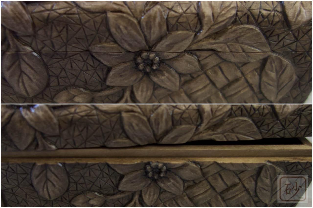 Wood carving postcard floral design03