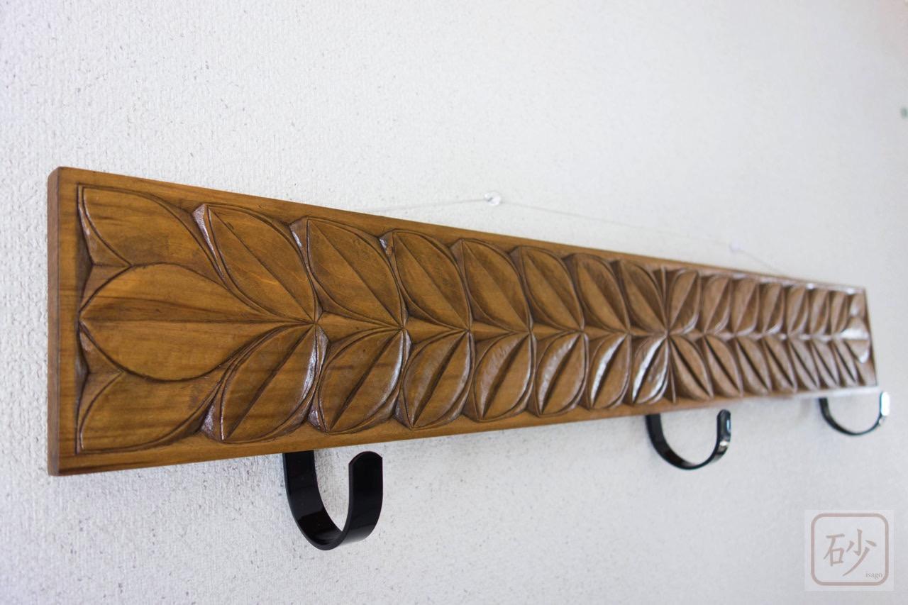 木彫りのコート掛け 葉っぱ