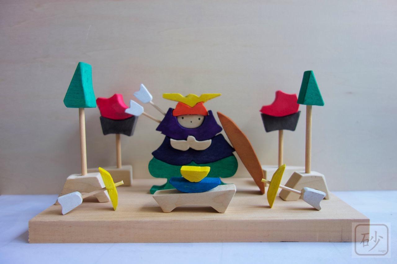 組み木の五月人形 武者