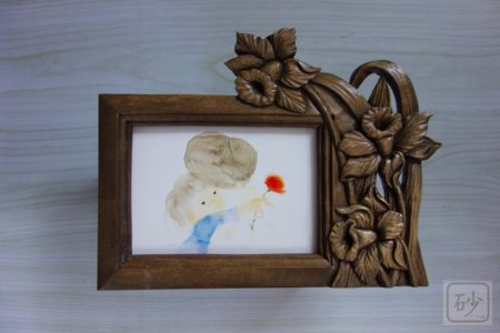 木彫りのフォトフレーム ラッパ水仙