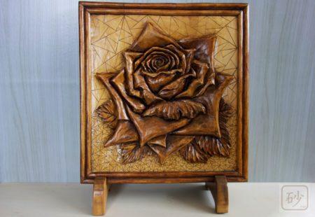 木彫りレリーフ 大輪のバラ