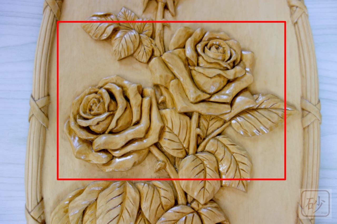 木彫りのバラ