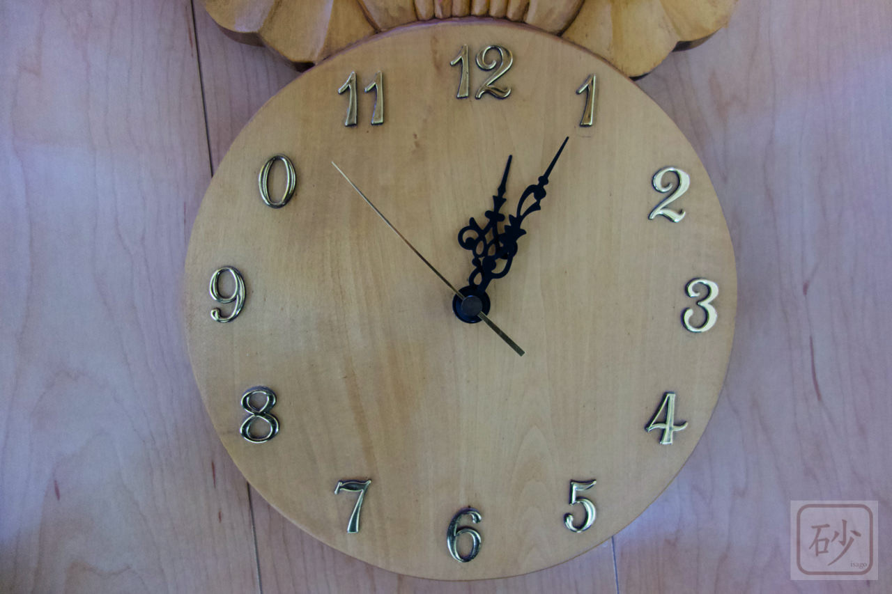 木彫りの時計 フクロウ