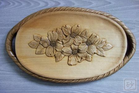 木彫りの菓子器 ハナミズキ