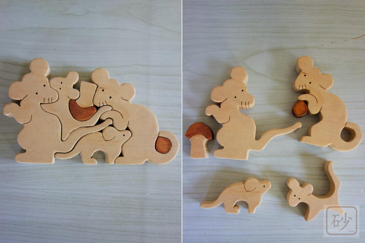 ネズミの組み木