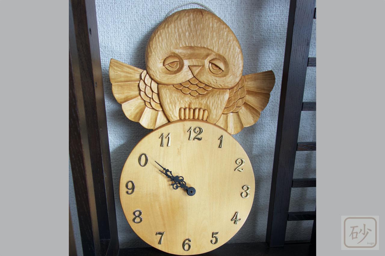 木彫りの掛け時計 フクロウ