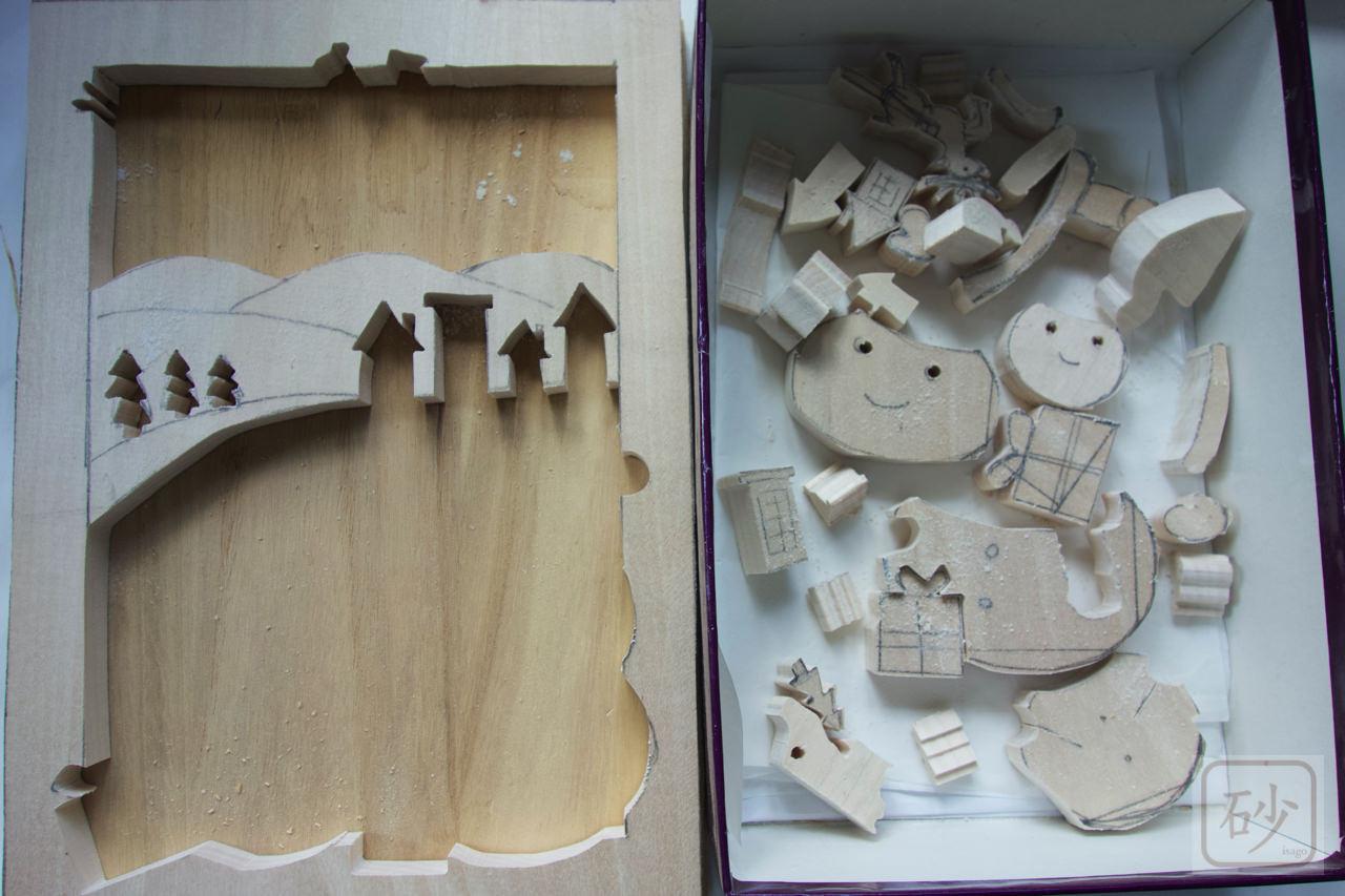サンタクロースの組み木絵