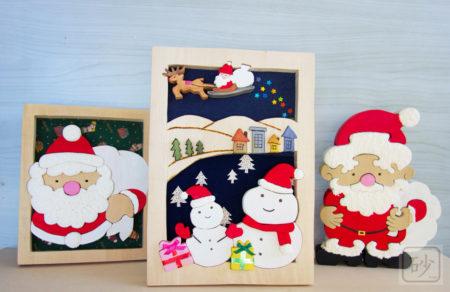 木彫りのクリスマス 雪だるまの組み木絵