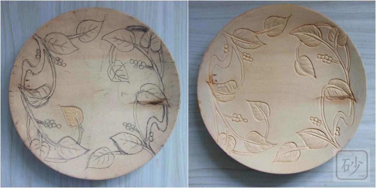 木彫りの菓子器