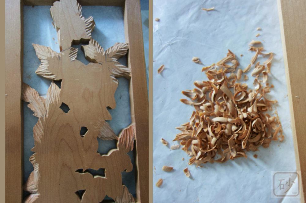 電動彫刻刀と桂の板