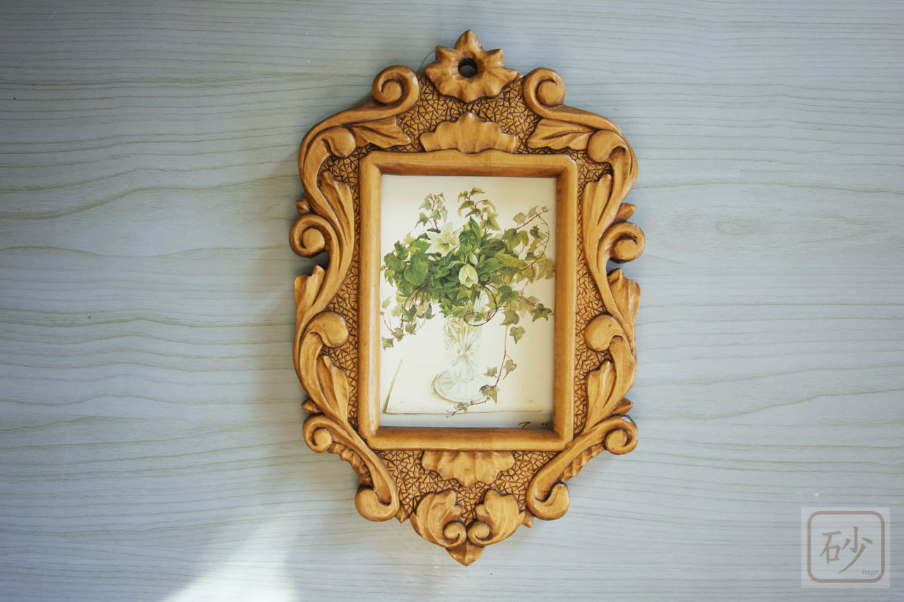 木彫りの写真入れ アカンサス 壁掛け用