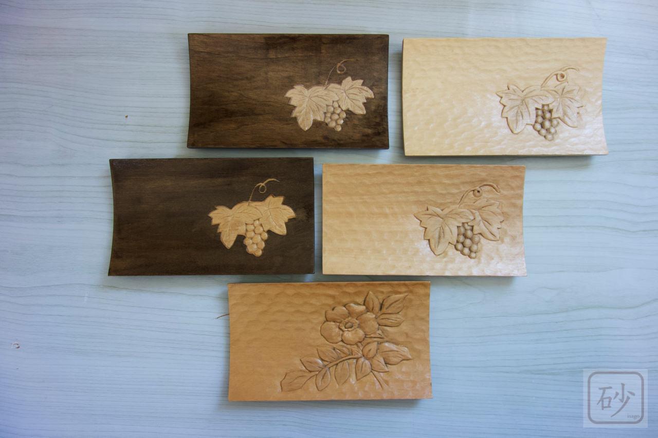 木彫りのおしぼりトレー ブドウとハマナスの浮き彫り