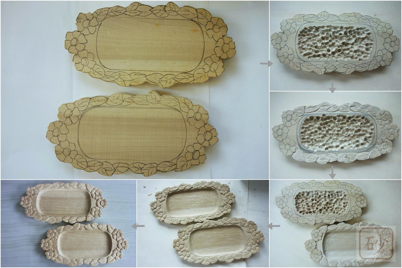 グラタン皿の木彫り敷台