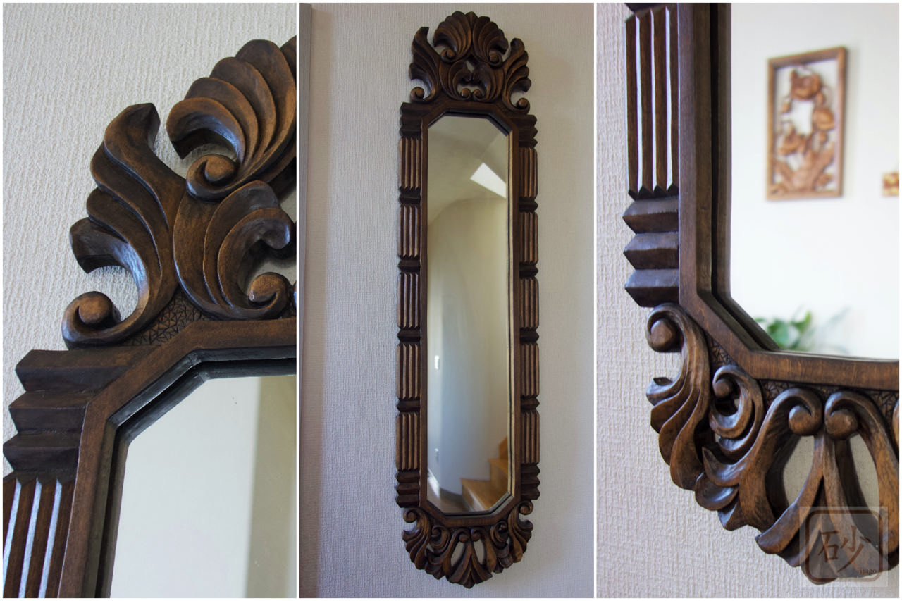 木彫りの長鏡 アカンサス