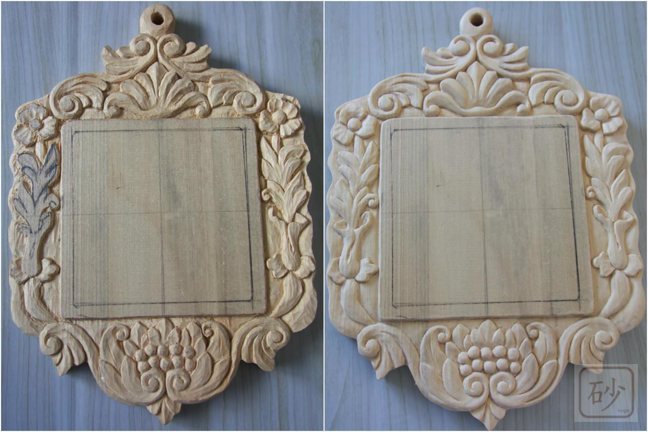 木彫りの壁掛け制作中