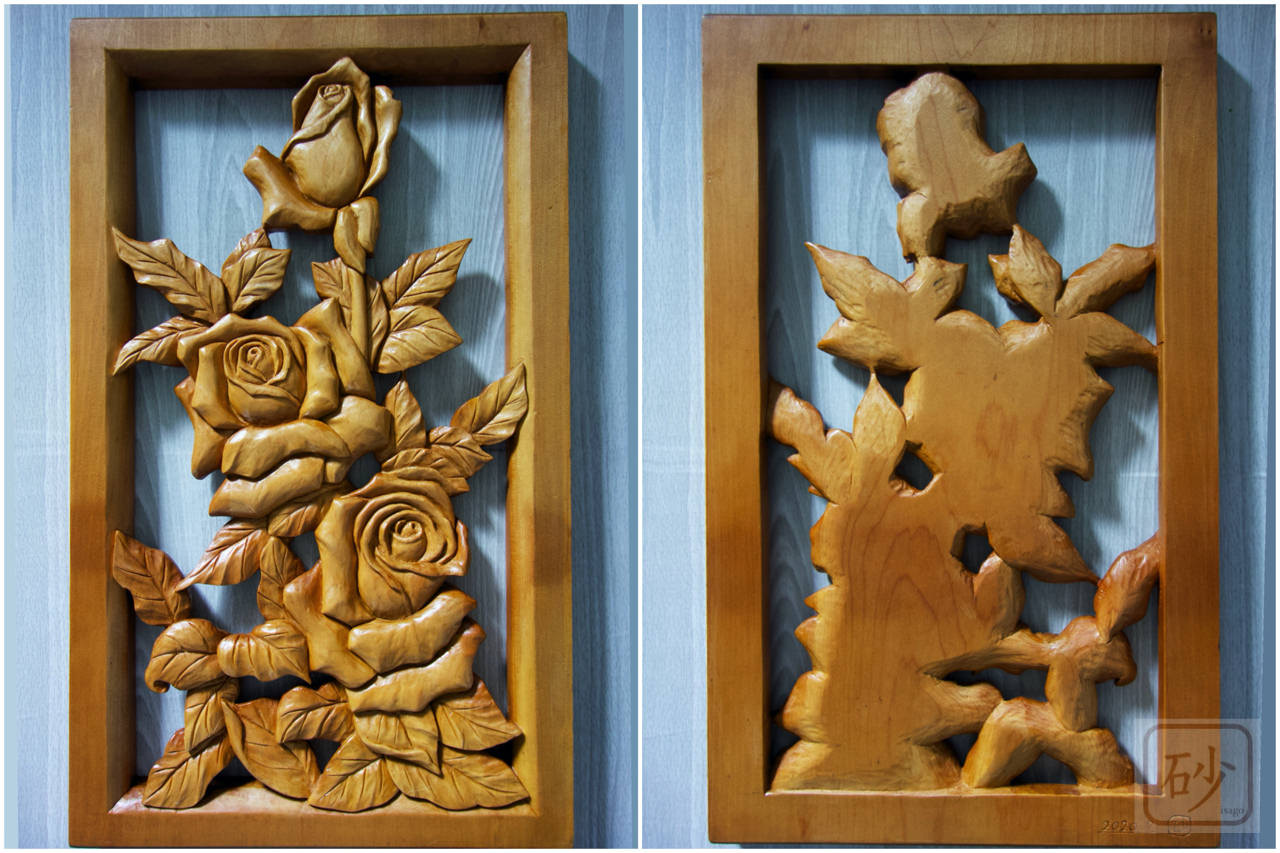 木彫バラレリーフ裏表