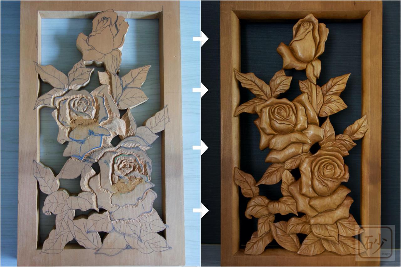 木彫バラレリーフ
